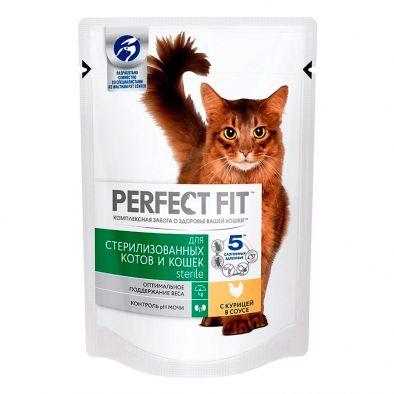 Корм консервированный полнорационный Perfect Fit Sterile для стерилизованных кошек с курицей в соусе