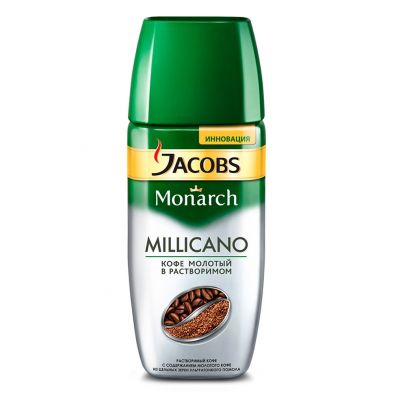 Кофе растворимый Jacobs Monarch Millicano натуральный сублимированный с добавлением кофе натурального жареного молотого