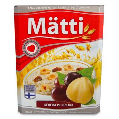 Каша Matti овсяная моментального приготовления изюм и орехи