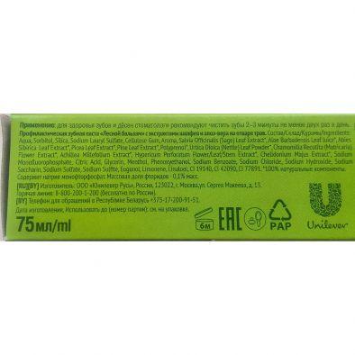 Состав зубная паста Лесной бальзам профилактическая с экстрактами шалфея и алоэ-вера на отваре трав