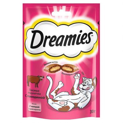 Лакомство Dreamies для взрослых кошек с говядиной