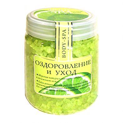 Этикетка соль для ванн морская BODY-SPA Оздоровление и уход лайм