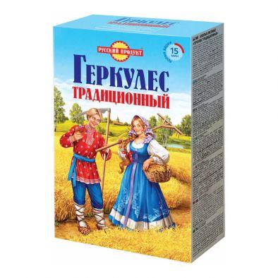 Этикетка хлопья овсяные Русский продукт Геркулес традиционный